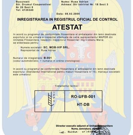 Certificate Calitate